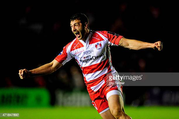 Jonny May of Gloucester celebrates his team's victory as the final whistle blows during the European Rugby Challenge Cup Final match between...