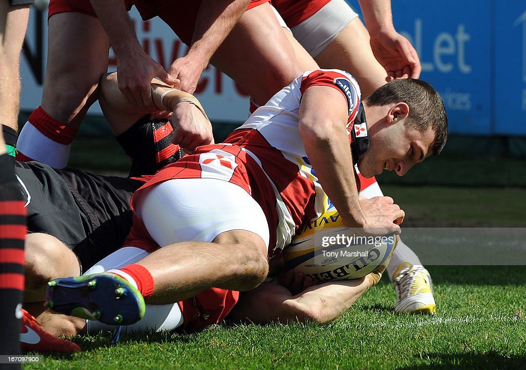 Jonny May of Gloucester scores his team's first try during the Aviva Premiership match between Gloucester and Saracens at Kingsholm Stadium on April 20, 2013 in Gloucester, England.