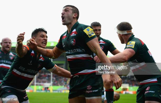 Jonny May of Leicester Tigers celebrates scoring their second try during the Aviva Premiership match between Leicester Tigers and Exeter Chiefs at...