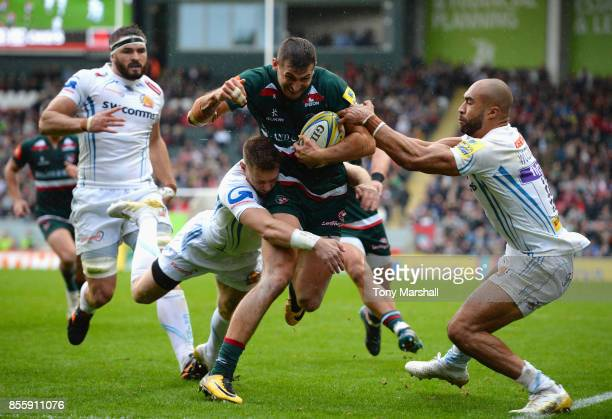 Jonny May of Leicester Tigers powers his way to score their second try during the Aviva Premiership match between Leicester Tigers and Exeter Chiefs...