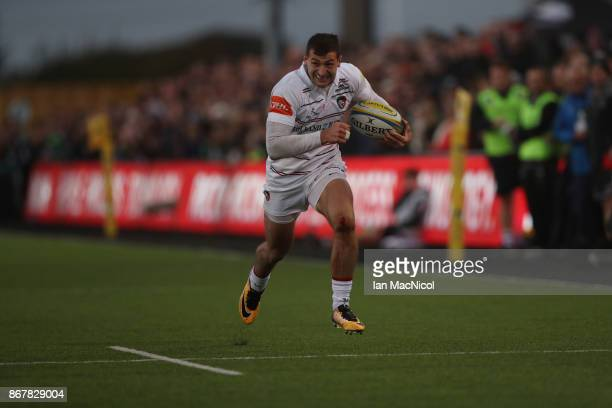 Jonny May of Leicester Tigers runs through to score his teams third try during the Aviva Premiership match between Newcastle Falcons and Leicester...