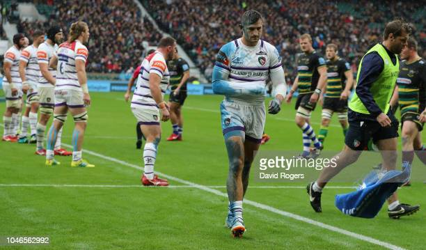 Jonny May the Leicester Tigers wing walks off the pitch after an injury to his right arm during the Gallagher Premiership Rugby match between...