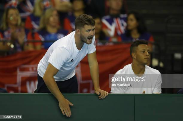 Jonny O'Mara reacts during Cameron Norrie's match against Jurabek Karimov of Uzbekistan during day one of the Davis Cup by BNP Paribas World Group...