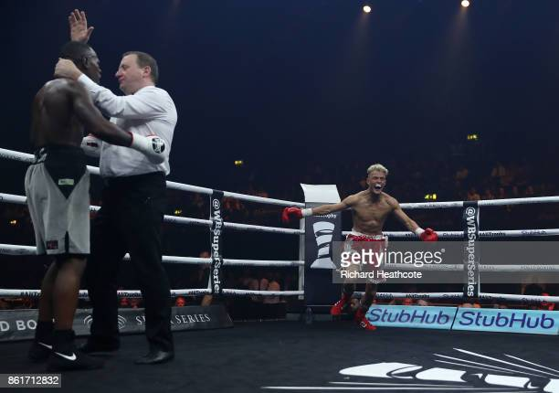 Jonny Phillips celebrates knocking out Nathanael Wilson during their Welterweight contest at SSE Arena on October 14 2017 in London England