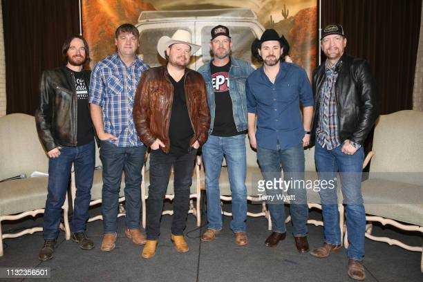 Jonny Richardson Less Lawless Randy Rogers Geoffrey Hill Brady Black and Todd Stewart of the Randy Rogers Band attend a special presentation of the...