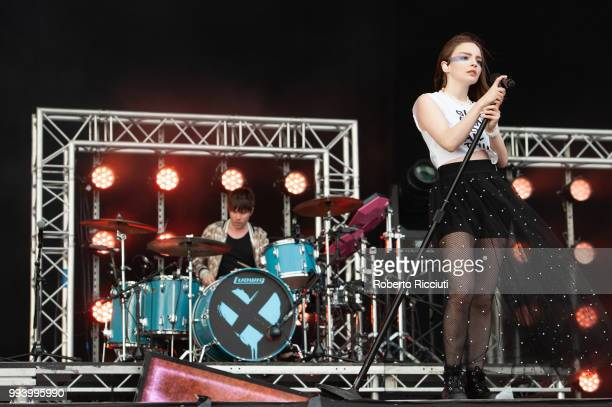 Jonny Scott and Lauren Mayberry of CHVRCHES perform on stage during TRNSMT Festival Day 5 at Glasgow Green on July 8 2018 in Glasgow Scotland