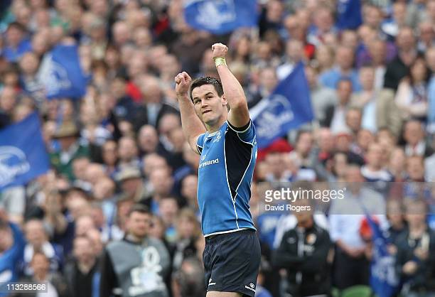Jonny Sexton of Leinster celebrates after kicking a final penalty to ensure victory during the Heineken Cup semi final match between Leinster and...