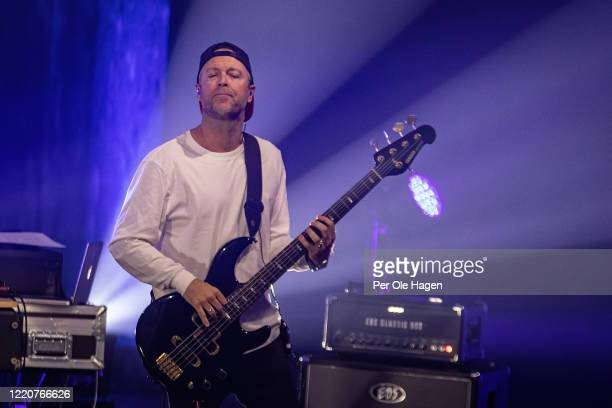 Jonny Sjo from D'Sound performs on stage at a streaming concert at Sentralen during the coronavirus crisis on April 24 2020 in Oslo Norway The...