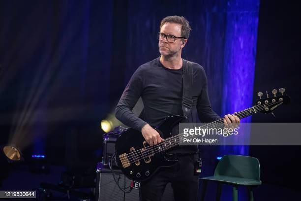 Jonny Sjo from the band Lava perform on stage at a streaming concert at Sentralen during the coronavirus crisis on April 18 2020 in Oslo Norway The...