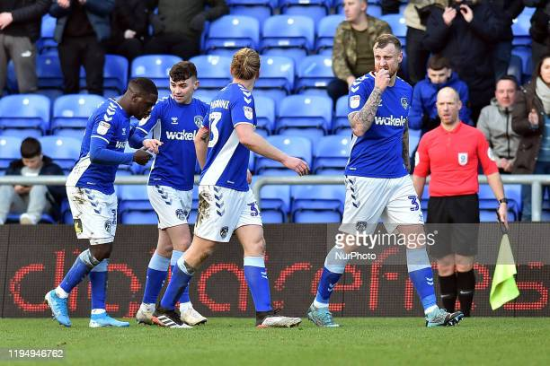 Jonny Smith of Oldham Athletic celebrates his goal during the Sky Bet League 2 match between Oldham Athletic and Carlisle United at Boundary Park...