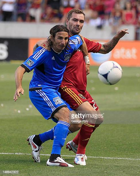 Jonny Steele of Real Salt Lake and Alan Gordon of the San Jose Earthquakes fight for the ball during the second half of an MLS soccer game June 23...