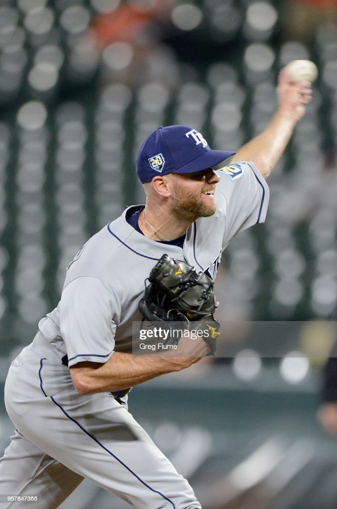 Jonny Venters #49 of the Tampa Bay Rays pitches in the eighth inning against the Baltimore Orioles during the second game of a doubleheader at Oriole Park at Camden Yards on May 12, 2018 in Baltimore, Maryland.
