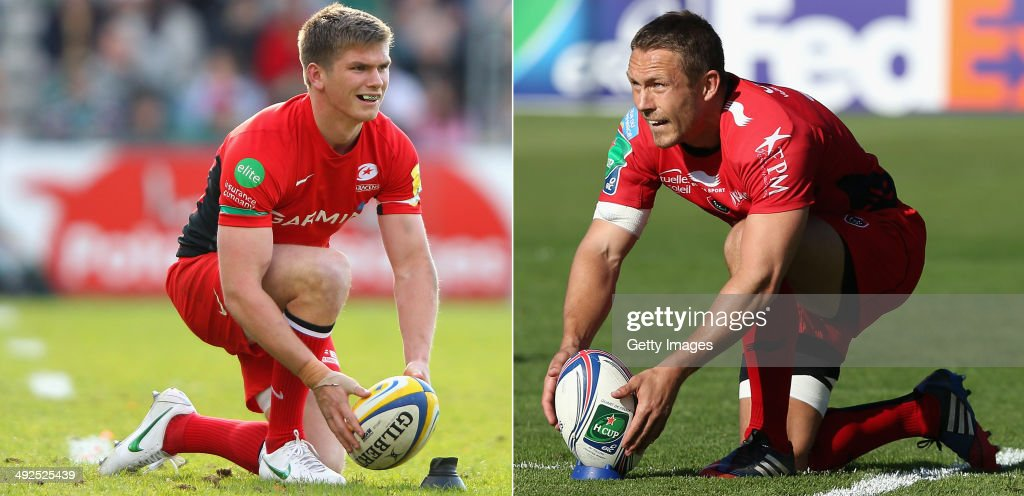IMAGES - Image Numbers 144255057 (L) and 483234487) In this composite image a comparison has been made between Fly Halfs Owen Farrell of Saracens (L) and Jonny Wilkinson of Toulon. Toulon and Saracens meet in the Heineken Cup Final on May 24,2014 at the Millennium Stadium,Cardiff,Wales. Jonny Wilkiinson of Toulon lines up a penalty during the Heineken Cup quarter final match between Toulon and Leinster at the Felix Mayol Stadium on April 6, 2014 in Toulon, France.