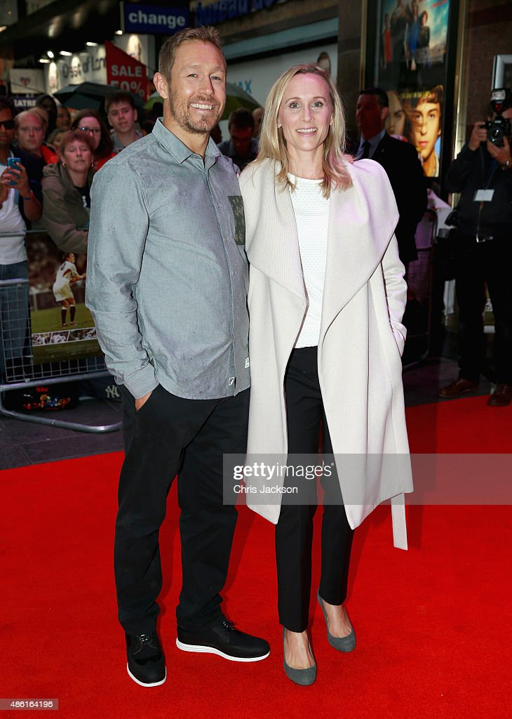 Jonny Wilkinson and his wife Shelley Jenkins attend the World Premiere of 'Building Jerusalem' at Empire Leicester Square on September 1, 2015 in London, England.
