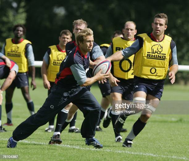 Jonny Wilkinson charges forward during the England rugby training session held at Bath University on August 15 2007 in Bath England