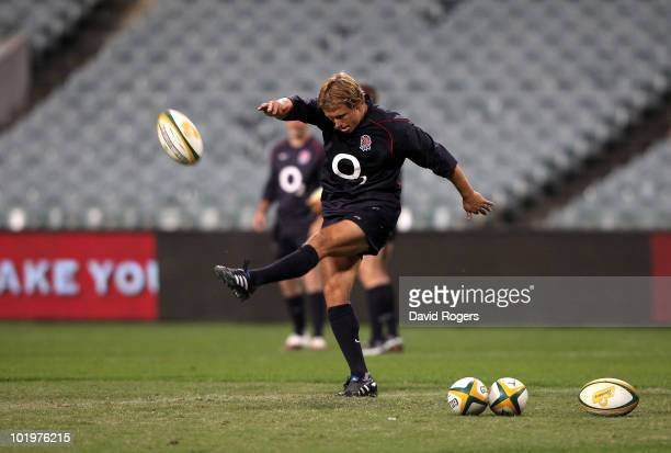 Jonny Wilkinson of England practices his kicking during the England training session held at the Subiaco Oval on June 11, 2010 in Perth, Australia.