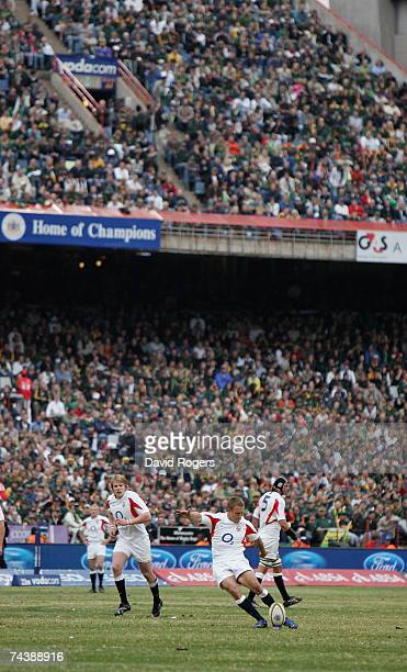 Jonny Wilkinson of England takes a penalty in front of the packed stands during the Rugby Union international match between South Africa and England...