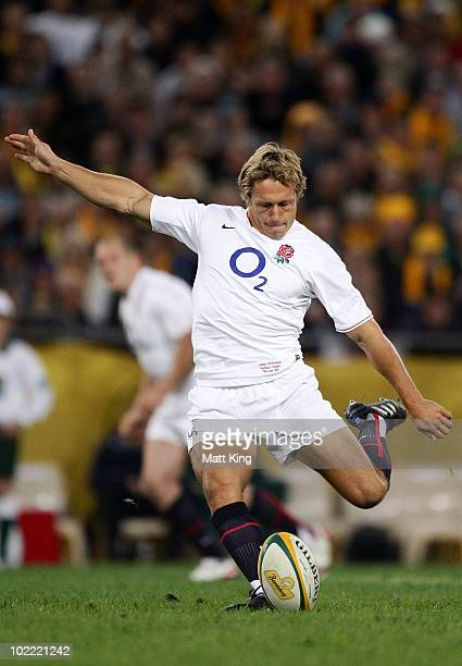 Jonny Wilkinson of England takes a penalty kick during the Cook Cup Test Match between the Australian Wallabies and England at ANZ Stadium on June 19...