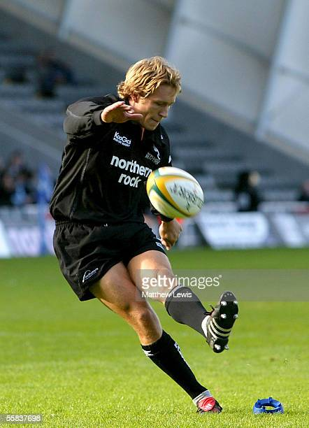 Jonny Wilkinson of Newcastle kicks a conversion during the Powergen Cup match between Newcastle Falcons and Sale Sharks at Kingston Park on October 2...