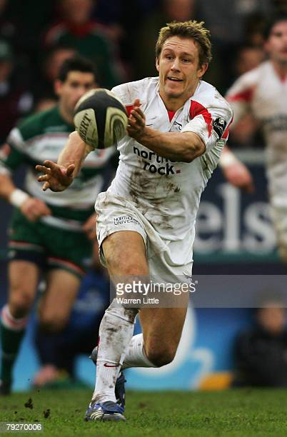 Jonny Wilkinson of Newcastle passes the ball down the line during the Guinness Premiership match between Leicester Tigers and Newcastle Falcons at...
