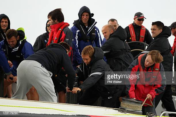Jonny Wilkinson of the England IRB Rugby World Cup 2011 squad works on the grinders during a sailing day on exAmerica's Cup yachts on Auckland's...
