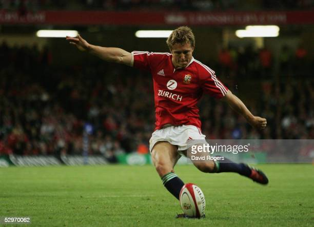 Jonny Wilkinson of the Lions kicks a last minute penalty to equalise the scores during the Rugby Union International Match between the British and...