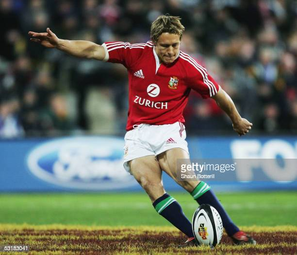 Jonny Wilkinson of the Lions kicks during the second test match between New Zealand All Blacks and British and Irish Lions at the Westpac Stadium on...