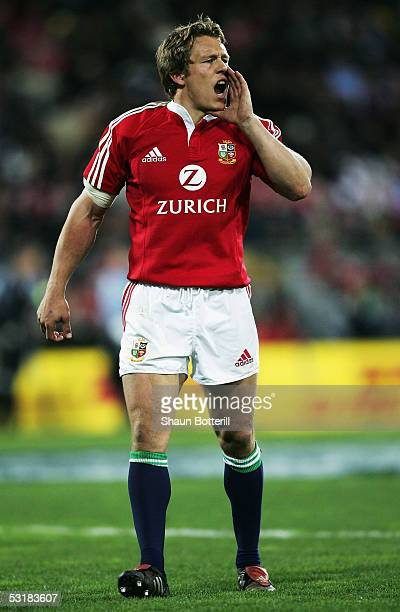 Jonny Wilkinson of the Lions shouts during the second test match between New Zealand All Blacks and British and Irish Lions at the Westpac Stadium on...