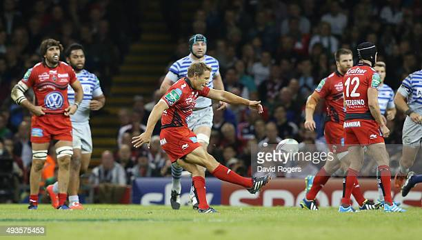 Jonny Wilkinson of Toulon drops a goal during the Heineken Cup Final between Toulon and Saracens at the Millennium Stadium on May 24 2014 in Cardiff...