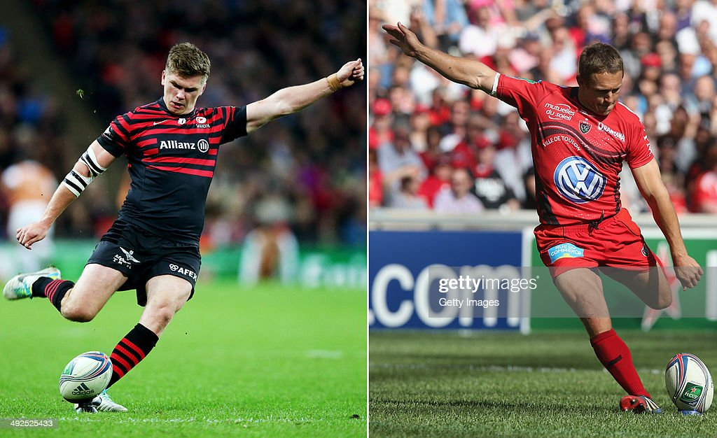 IMAGES - Image Numbers 185259895 (L) and 487269853) In this composite image a comparison has been made between Fly Halfs Owen Farrell of Saracens (L) and Jonny Wilkinson of Toulon. Toulon and Saracens meet in the Heineken Cup Final on May 24,2014 at the Millennium Stadium,Cardiff,Wales. Jonny Wilkinson of Toulon kicks a penalty during the Heineken Cup semi final match between Toulon and Munster at the Stade Velodrome on April 27, 2014 in Marseille, France.