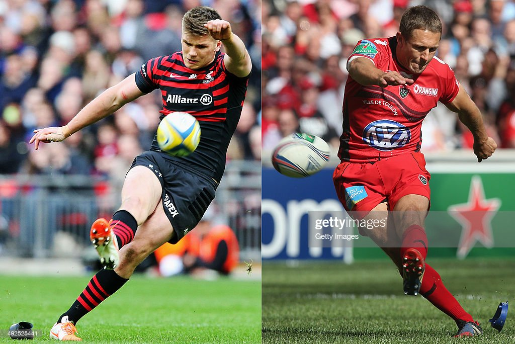 IMAGES - Image Numbers 480051625 (L) and 487068129) In this composite image a comparison has been made between Fly Halfs Owen Farrell of Saracens (L) and Jonny Wilkinson of Toulon. Toulon and Saracens meet in the Heineken Cup Final on May 24,2014 at the Millennium Stadium,Cardiff,Wales. Jonny Wilkinson of Toulon kicks a penalty during the Heineken Cup semi final match between Toulon and Munster at the Stade Velodrome on April 27, 2014 in Marseille, France.