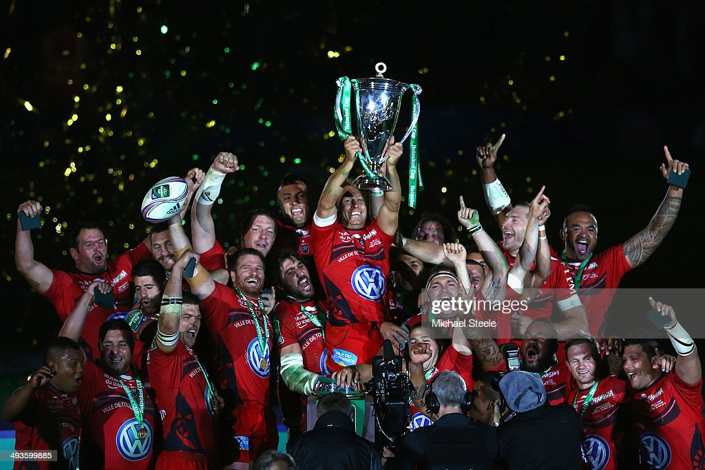 Jonny Wilkinson of Toulon lifts the winners trophy after his side 23-6 victory during the Heineken Cup Final match between Toulon and Saracens at Millennium Stadium on May 24, 2014 in Cardiff, Wales.