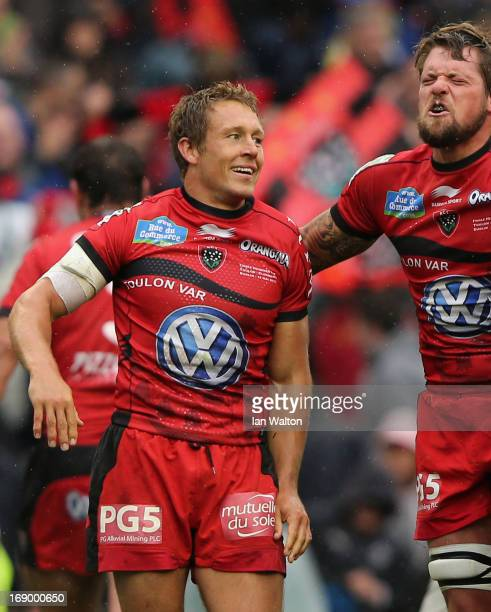 Jonny Wilkinson of Toulon reacts to his team's victory at the end of the Heineken Cup final match between Clermont Auvergne and RC Toulon at the...