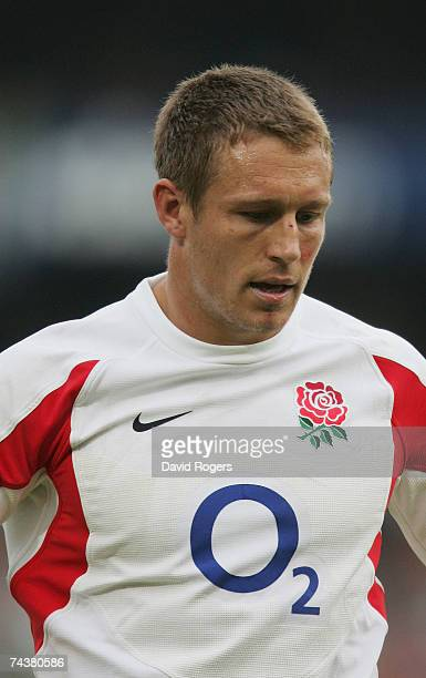 Jonny Wilkinson the England captain looks dejected after his teams defeat during the Rugby Union international match between South Africa and England...