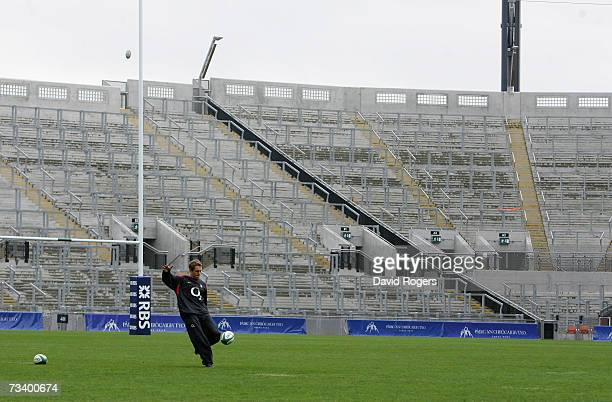 Jonny Wilkinson the England standoff practices his kicking in front of Hill 16 during the England rugby union captain's run at Croke Park on February...