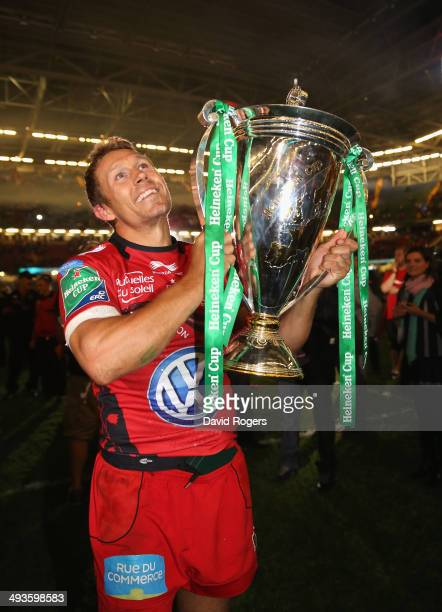 Jonny Wilkinson the Toulon captain, raises the Heineken Cup after his teams victory during the Heineken Cup Final between Toulon and Saracens at the...