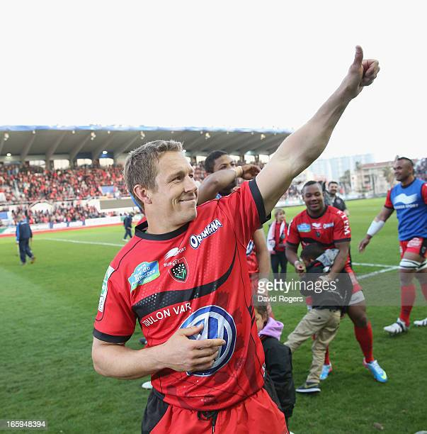 Jonny Wilkinson who kicked all of Toulon's points celebrates their victory after the Heineken Cup quarter final match between Toulon and Leicester...