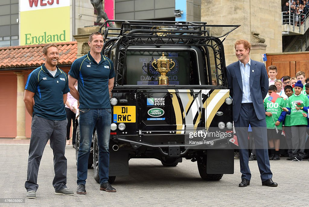 Jonny Wilkinson, Will Greenwood and Prince Harry attend the launch of the Rugby World Cup Trophy Tour, 100 days before the Rugby World Cup at Twickenham Stadium on June 10, 2015 in London, England.