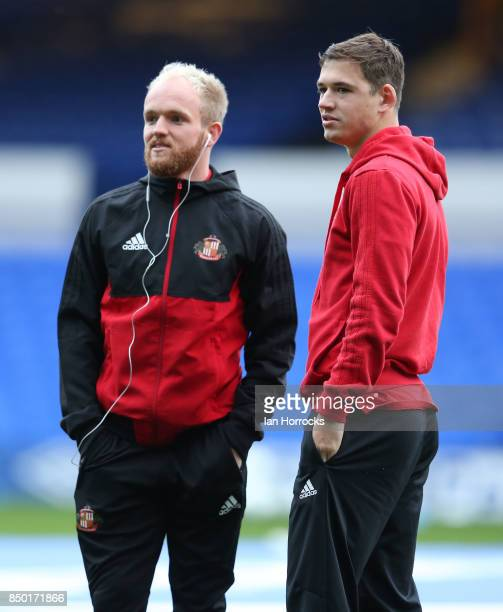Jonny Williams and Donald Love of Sunderland look around the pitch prior to the Carabao Cup third round match between Everton and Sunderland at...