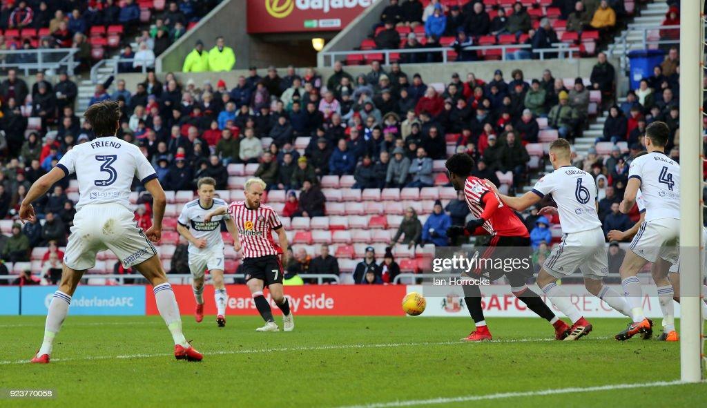Jonny Williams of Sunderland (C) scores the second Sunderland goal during the Sky Bet Championship match between Sunderland and Middlesbrough at Stadium of Light on February 24, 2018 in Sunderland, England.