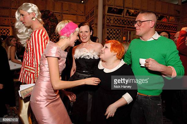 Jonny Woo, Agyness Deyn, Katie Grand, Beth Ditto and Giles Deacon attend fashion magazine Love's Christmas Tea And Treasure Hunt at Royal Academy of...