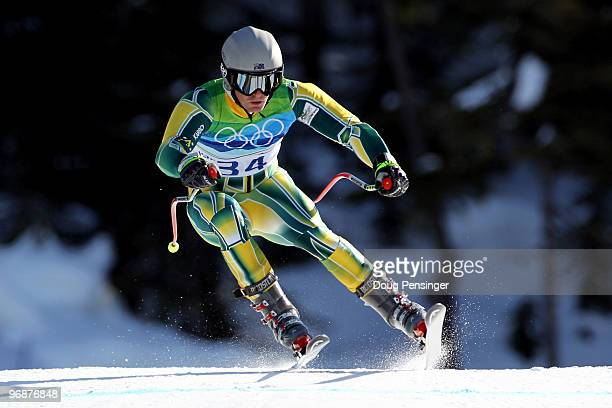 Jono Brauer of Australia competes in the men's alpine skiing SuperG on day 8 of the Vancouver 2010 Winter Olympics at Whistler Creekside on February...