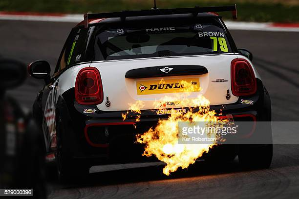 Jono Brown drives for Excelr8 Motorsport during the Mini Challenge support race prior to qualifying for the Blancpain GT Series Sprint Cup at Brands...