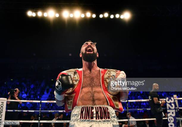 Jono Carroll celebrates after defeating Humberto De Santiago following their vacant IBF SuperFeatherweight Championship fight on the Frampton Reborn...