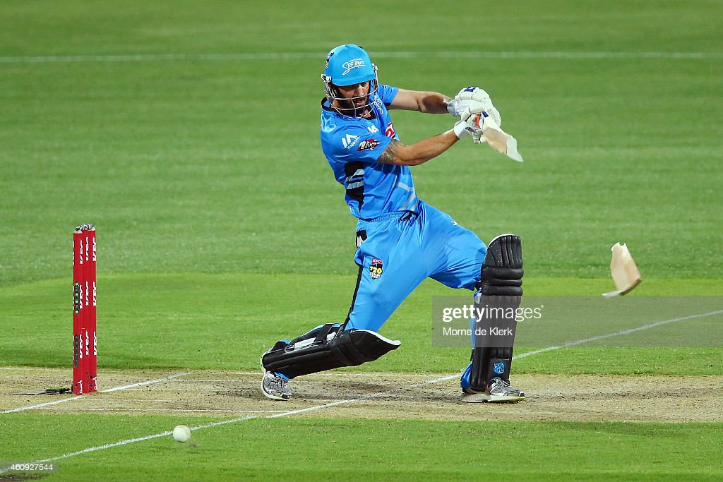 Jono Dean of the Adelaide Strikers breaks his bat while batting during the Big Bash League match between the Adelaide Strikers and the Hobart Hurricanes at Adelaide Oval on December 31, 2014 in Adelaide, Australia.