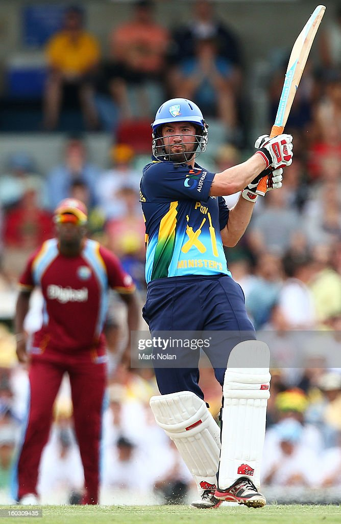 Jono Dean of the PM's XI bats during the International Tour Match between the Prime Minister's XI and West Indies at Manuka Oval on January 29, 2013 in Canberra, Australia.