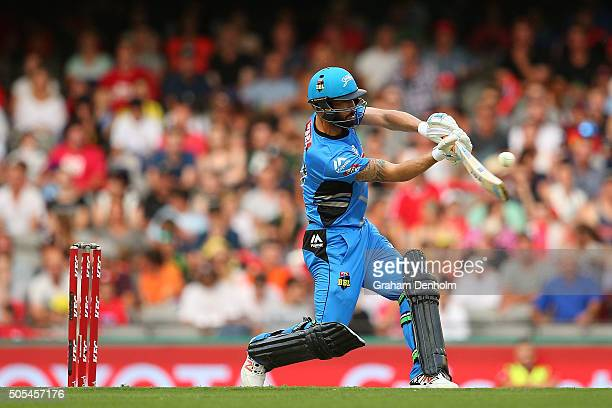 Jono Dean of the Strikers plays a shot during the Big Bash League match between the Melbourne Renegades and the Adelaide Strikers at Etihad Stadium...
