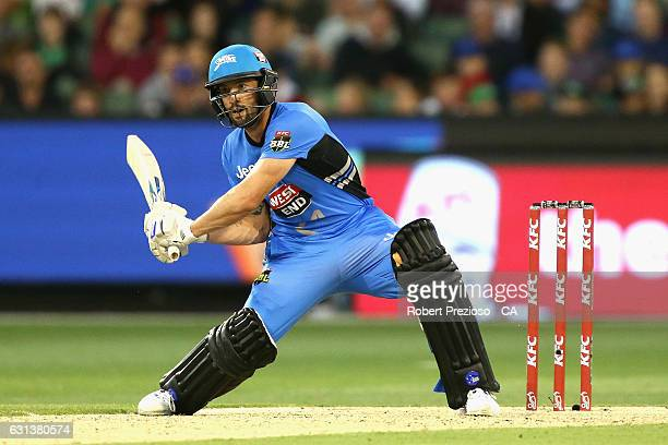Jono Dean of the Strikers plays a shot during the Big Bash League match between the Melbourne Stars and the Adelaide Strikers at Melbourne Cricket...