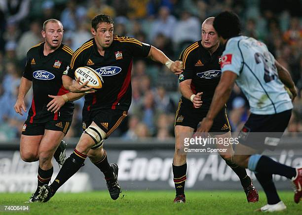 Jono Gibbes of the Chiefs makes a break during the round 13 Super 14 match between the Waratahs and the Chiefs at Aussie Stadium on April 27, 2007 in...
