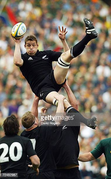 Jono Gibbes the New Zealand flank forward jumps for the ball in the lineout during the TriNations Rugby Union International between South Africa and...
